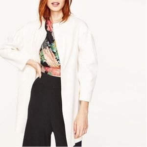 NWT ZARA CREAM ROUND NECK BUTTON UP LONG COAT M